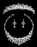 Silver Rhinestone White Pearl Crystal Flower Bridal Tiara Necklace Jewelry Set