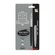 Parker Jotter Standard CT Ball Point Pen LG Black & Grey body + Blue Refill New