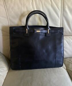 Authentic GUCCI Black Leather Gold Hardware Tote Handbag - ITALY