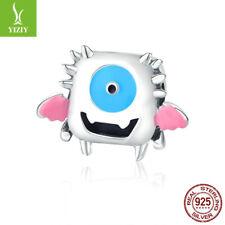 Genuine 925 Sterling Silver Cute Little Monster Dumber Charm Bead For Children