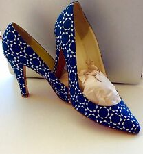 Patrizia Pepe Navy Blue/White Geometric Satin Pump Size 8.5 M
