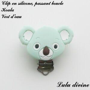 Pince / Clip en silicone, attache tétine, passant boucle, Koala : Vert d'eau