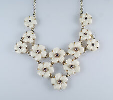 "Molded White Lucite Pink Rhinestone Flower Floral Bib Necklace Signed ""SAQ"""