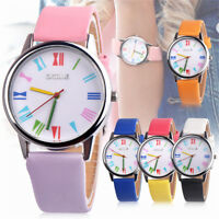 Fashion Womens Leather Strap Watch Rainbow Dial Quartz Girls Sport Wrist Watch
