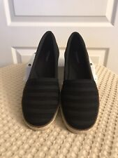 Grasshoppers Blaise Black Stripe Wedge Memory Deluxe Gore Sneaker MSRP $79