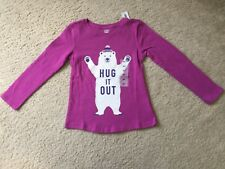 NWT Old Navy Toddler Girls Purple Bear Hug Long Sleeve Shirt Size 4T