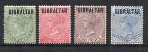 Gibraltar 1886 Bermuda opt values to 2 1/2d MH