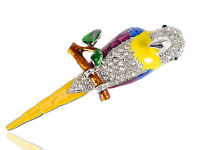 Colorful Enamel Painted Tropical Parrot Bird Rhinestone Diamante Pin Brooch Gift