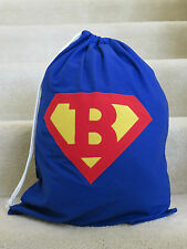 PERSONALISED  LIBRARY BAG - MONOGRAM INITIAL SUPERMAN STYLE