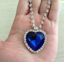 New Titanic Heart of The Ocean Blue Crystal Necklace Pendant Free Post Best Gift