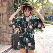 Women Cardigan Loose Front Open Beach Wrap Kimono Shirt Leaf Flamingo Blouse