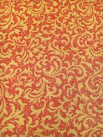 Vintage Wallpaper Red and Gold Swirl Acanthus Small Print by Motif