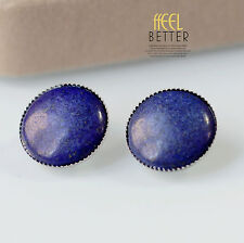 earrings Clips Silver Half Pearl Stone Lapis Lazuli Blue Retro J7