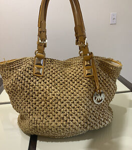 MICHAEL KORS Handbag Straw  Beach Travel Bag Purse