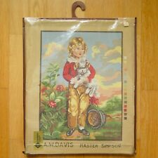 """Vintage A.W. Davis """"master simpson"""" complet demi-point de croix tapisserie Kit"""