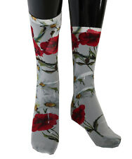 NEW $220 DOLCE & GABBANA Socks White Floral Red Roses Nylon Stockings s. S