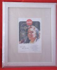 Vtg Print Ad 1953 Coca-Cola Coke Pretty Girl Drive Safely-Matted/Framed-COA-New
