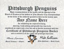 Pittsburgh Penguins Real Hockey Fan Certificate Diploma Gift Man Cave Hockey