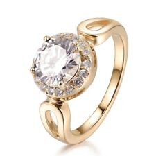 Charms White Cubic Zirconia Brilliant Women Engagement Yellow Gold Ring #7-10