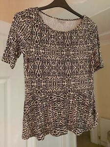 Ladies Peplum Top Marks And Spencer Size 12 Beige Black Short Sleeve Stretch
