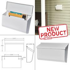 Medium Wall Mount Mailbox Horizontal Box Letter Mailboxes Steel Heavy Duty White