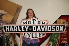 "Large Harley Davidson Motorcycles 2 Sided Gas Oil 50"" Porcelain Metal Sign"