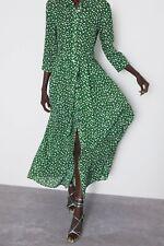 Zara Marilyn Green Spotted Midi Maxi Shirt Dress Size 10-12 M