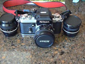 Nikon F2AS SLR camera body DP-12 finder Black LATE MODEL F2-AS 20mm 50mm 28mm