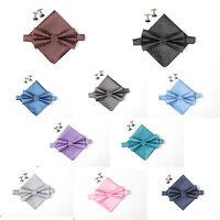 New Silk Solid Plain Tuxedo Bow Tie Cufflinks Handkerchief Men's Tie Set Gift