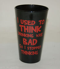 """Black Beer Pint Glass """"I Used to Think Drinking Was Bad"""""""