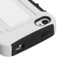 iPhone 4 4S Hybrid C Armor Case Skin Cover w/ Kickstand White Black