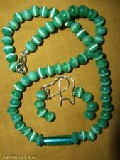 Green Cat's Eye Bead Necklace & Earring Set