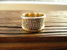 9CT GOLD WIDE 11MM GENUINE DIAMOND BAND RING WEDDING RING FITS SIZE  N / N1/2