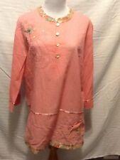 Democracy Womens Tunic Blouse Size Large Embroidery Embellished Cotton 3/4 Sleev