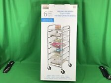 6 Drawer Rolling Cart Organizer with Durable Steel Mesh Drawers Locking Casters