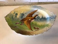 Antiguo Jean Pouyat Limoges Porcelana Grande Fuente W/ Pintado Quail Decoración