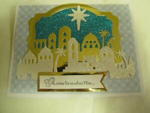 Oh Come Let Us Adore Him Bethlehem Christmas Handmade Card Kit w/Stampin Up 4