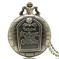 Copper The Nightmare Before Christmas Men Quartz Pocket Watch Necklace Gift Bag