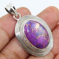 Purple Copper Turquoise Gemstone 925 Sterling Silver Pendant Jewelry