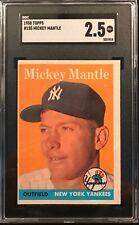 1958 TOPPS Baseball Card #150 MICKEY MANTLE - NY New York Yankees - SGC 2.5