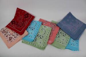 Lot of 8 Vintage Handkerchief Bandana Fast Color Cotton Paisley Multicolor