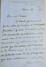 Signed letter J. LATEY (Illustrated London News) 1872 to painter William SIMPSON