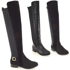 Ladies Over The Knee High Flat Pull On Buckle Elasticated stretch Womens Boots