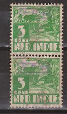Indonesia Sumatra 18a OVERPRINT 821v pair verticaal used Japanse bezetting