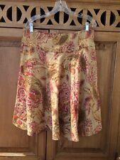Women's Ralph Lauren Skirt 100 % Linen Paisley Size 10 Side Zipper & Pockets