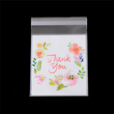 100pcs Thank You Flower Self Adhesive Cookie Christmas Gift Bags 10cm*10cm h