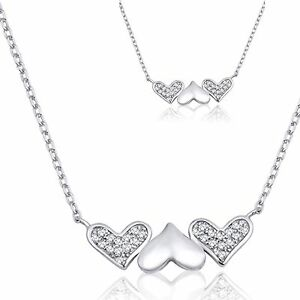 3 Three Heart Clear CZ Sterling Silver Necklace