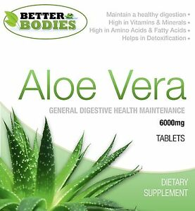 Aloe Vera Juice 6000mg Tablets Super Strength Colon Cleanse