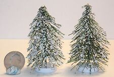 "Miniature Village Snow Capped Trees Set of 2   3 1/4 "" tall   L23 Dollys Gallery"
