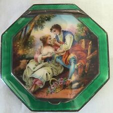 Antique Austrian Hand Painted Guilloche Enamel Sterling Silver Powder Compact